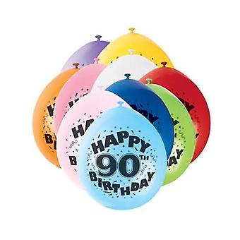 SALE - 10 Assorted Colour Milestone Age Balloons - Happy 90th Birthday