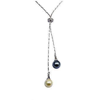 Dubbele Black Pearl en wit, Element en rodium plaat Swarovski kristal ketting