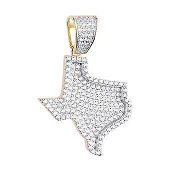 Premium Bling - 925 Sterling Silber Texas Anhänger gold