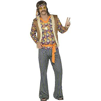 Smiffy's 60's Hippie Singer Costume, With Top, Waistcoat, Trousers, Belt & Headband