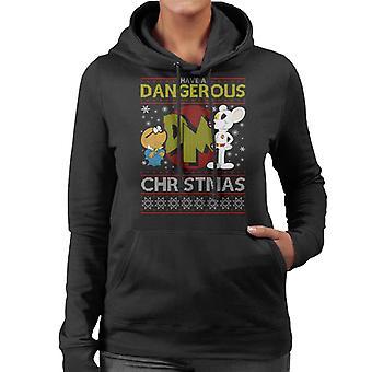 Danger Mouse Dangerous Christmas Knit Pattern Women's Hooded Sweatshirt