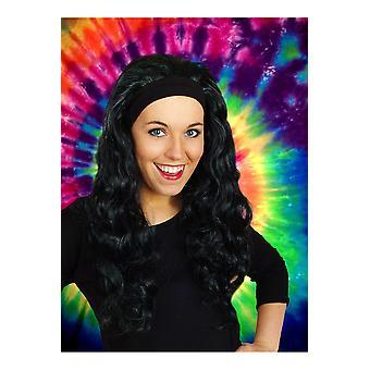 Pelucas peluca con cabello largo y cabello banda Jenna Black