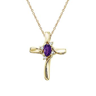 14K Yellow Gold Amethyst and Diamond Cross Pendant with 18
