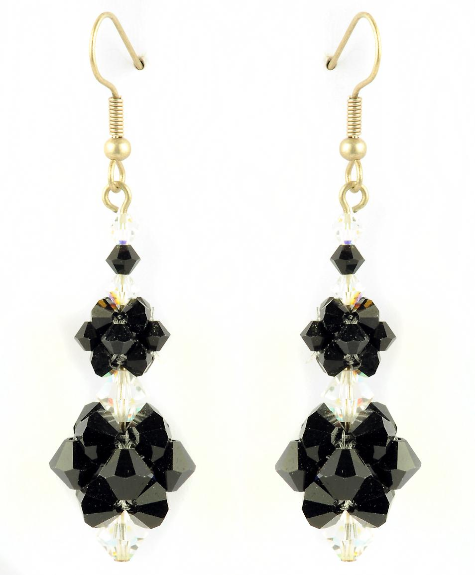 Waooh - Fashion Jewellery - WJ0766 - D'Oreille earrings with Swarovski Strass Black & White Transparent