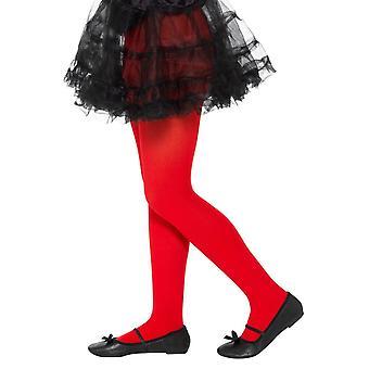 Pantys opacos rojo, medias de las niñas/niños, edad 6-12