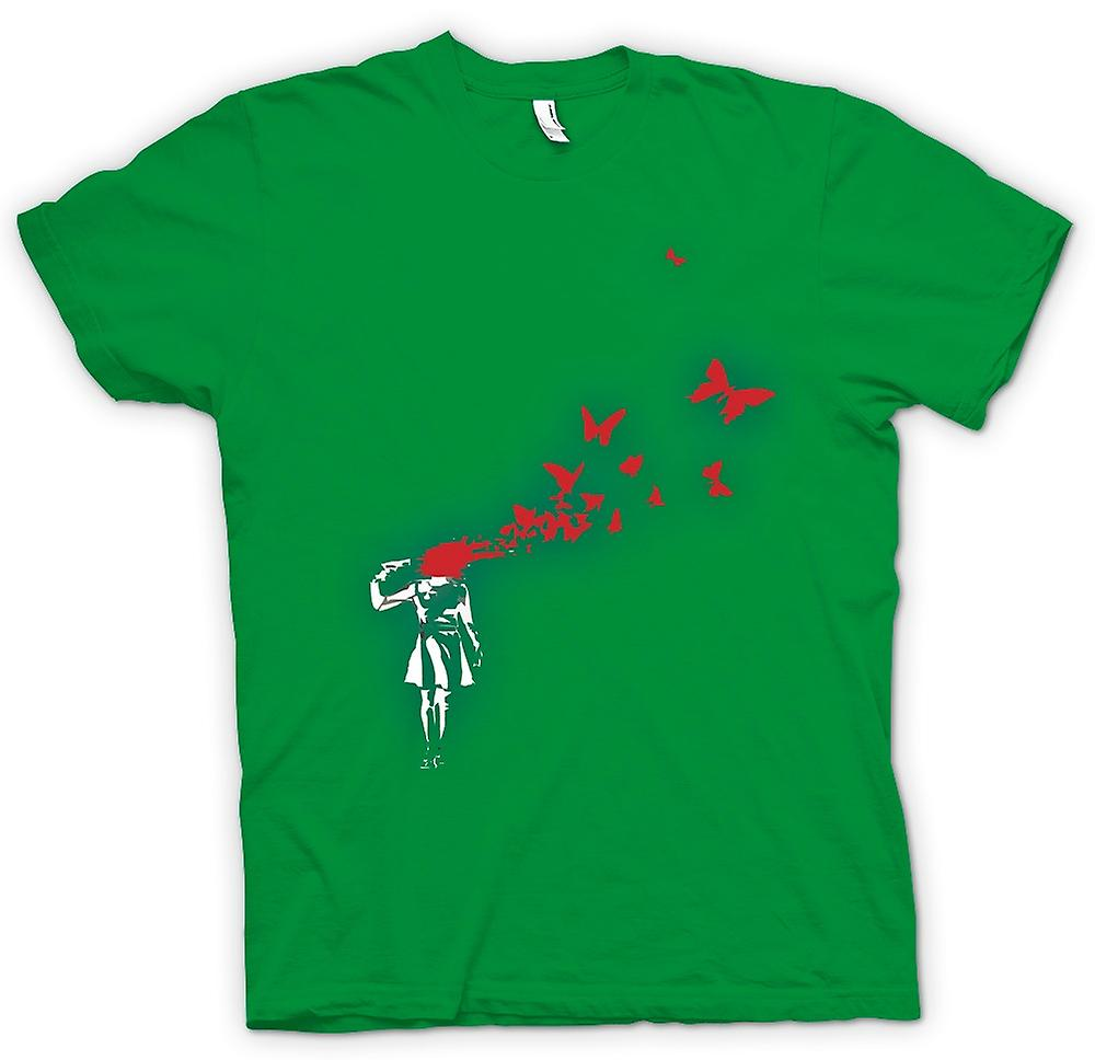 Heren T-shirt - Banksy Graffiti kunst - opstaat