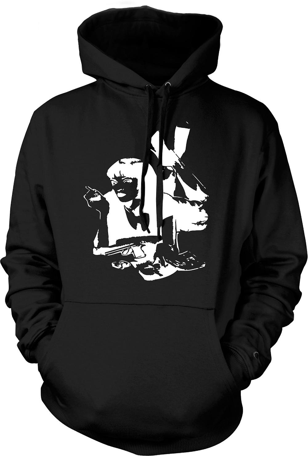 Mens Hoodie - Pulp Fiction - Mia Wallace - Stencil