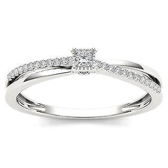 IGI Certified 10k White Gold 0.13 Ct Princess Diamond Split-Shank Engagemnt Ring