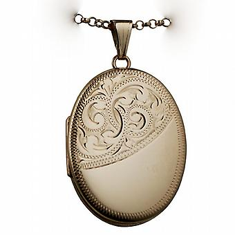 9ct Rose Gold 35x26mm half engraved flat oval Locket with belcher Chain 16 inches Only Suitable for Children