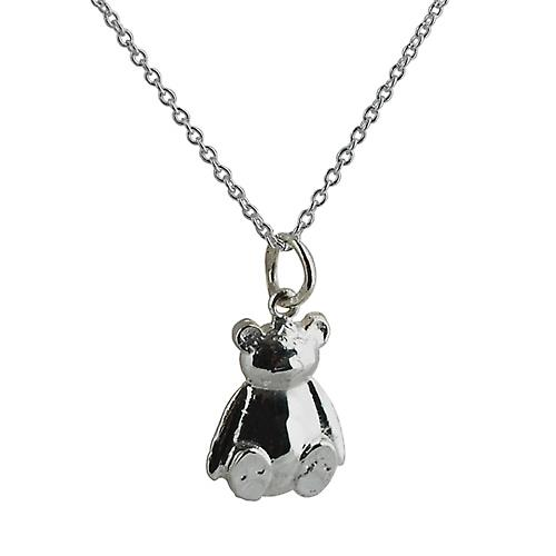 Silver 14x11mm solid Teddy Bear with a rolo Chain 16 inches Only Suitable for Children