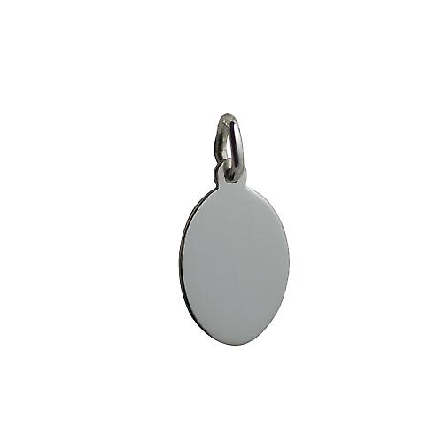 Silver 16x11mm plain oval Disc