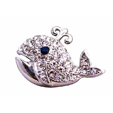 Dolphin Silver Casting Fully Embedded Cubic Zircon Brooch