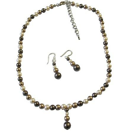 TriColor Bridal Bridesmaid Swarovski Bronze Brown Ivory Pearls Set