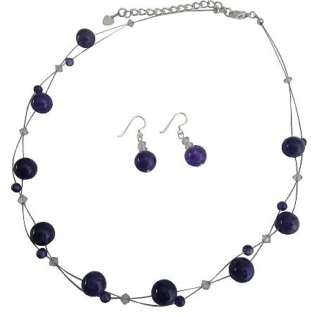 Inexpensive Wedding Jewelry Set Amethyst Genuine Swarovski Crystals Floating Illusion Necklace Set With Amethyst Glass Beads