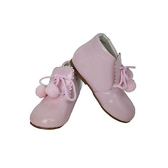 Baby Girls Pom Pom Wedding Party Patent Formal Baby Pink Shoes