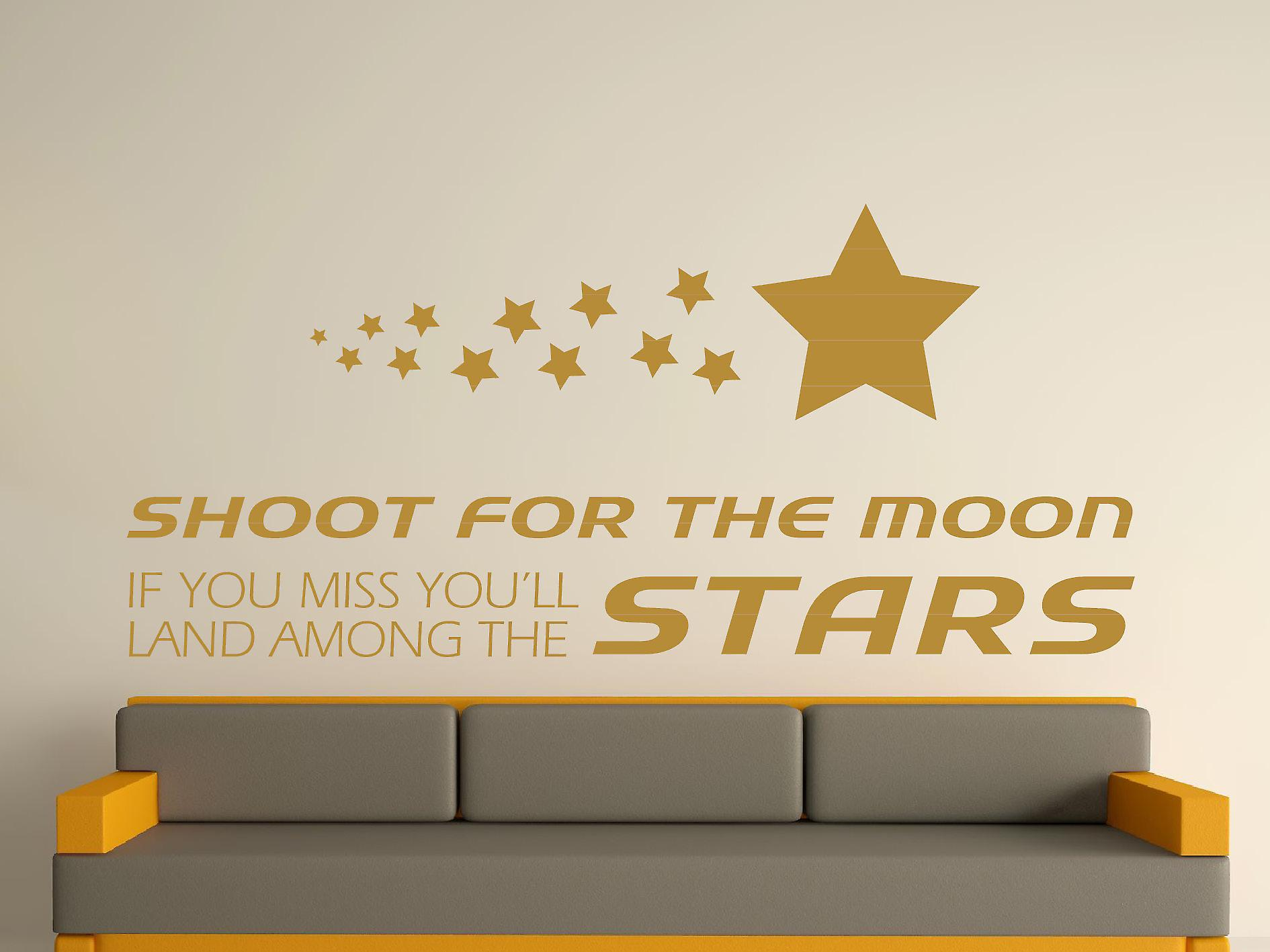 Shoot For The Moon Wall Art Sticker - Gold