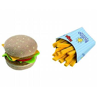 HABA Play Food Hamburger and French Fries  Fabric  Wooden Toy