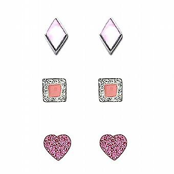 TOC Sterling Silver Rhombus  Square & Heart Stud Earrings - 3 Pairs