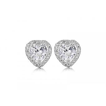 Eternity 9ct White Gold Heart Cubic Zirconia Halo Stud Earrings