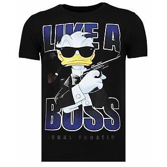 Like A Boss-Rhinestone T-shirt-Black