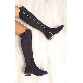 IKRUSH Womens Samia Faux Suede Gold Zip Stretch Knee High Boots