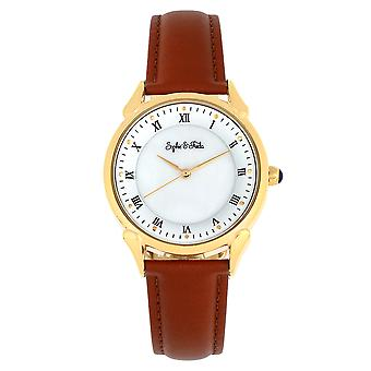Sophie and Freda Mykonos Mother-Of-Pearl Leather-Band Watch - Brown