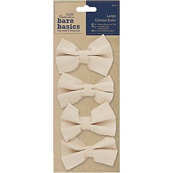 Papermania Bare Basics Large Canvas Bows 4/Pkg-  PM174503