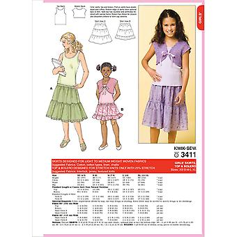 Skirts, Top & Bolero  Xs 4  5   S 6   M 7  8   L 10   Xl 12  Pattern K3411