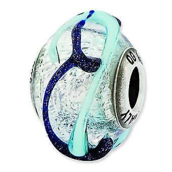 Sterling Silver Reflections Italian Silver With Blue Textured Lines Glass Bead Charm
