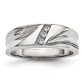 6,75 mm rostfritt stål polerad med Cubic Zirconia Ring - Ring storlek: 6 – 13