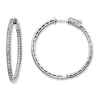 Sterling Silver Rhodium Plated Cubic Zirconia In and Out Hoop Earrings
