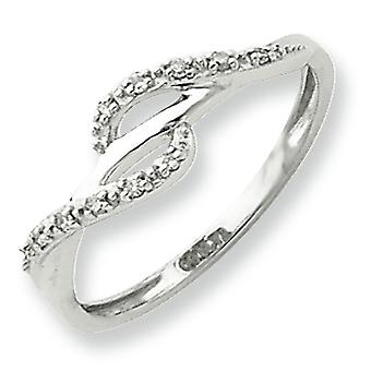 Sterling Silver Diamond Ring - formato dell'anello: 6-8