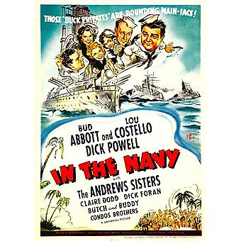 In The Navy Top From Left Dick Powell The Andrews Sisters Bud Abbott Lou Costello On Midget Window Card 1941 Movie Poster Masterprint
