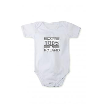Baby body with shiny silver print made in Poland