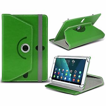 iTronixs - Samsung Galaxy Tab A (SM-T280) (7 inch) Tablet Case PREMIUM PU 360 Rotating Leather Wallet Folio Faux 4 Springs Stand - Green