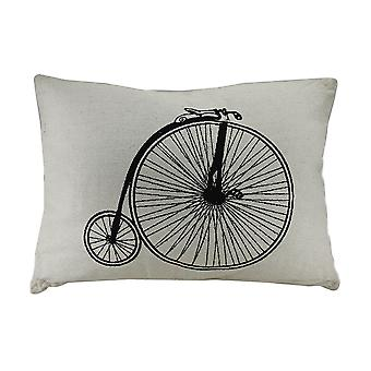 Retro Penny Farthing High Wheeler Bicycle Decorative Throw Pillow 17 X 23 Inch