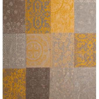 Vintage Yellow Floral Square Patchwork Rug - Louis De Poortere