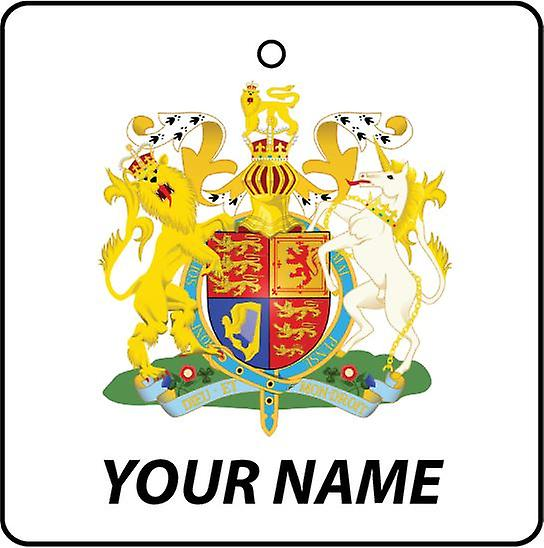 Personalised United Kingdom Coat Of Arms Car Air Freshener