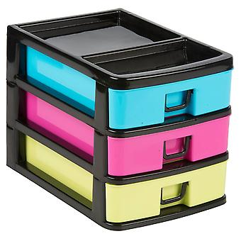 27x18.5x20cm Plastic 3 Drawers Storage Box Household Garage Organiser