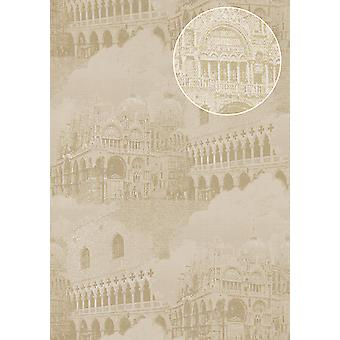 Graphic wallpaper Atlas SIG-285-3 non-woven wallpaper structured with architectural motifs and metallic accents ivory cream white gold grey beige 7,035 m2