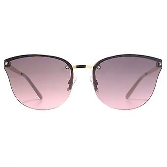 French Connection Rimless Cateye Sunglasses In Gold Pink
