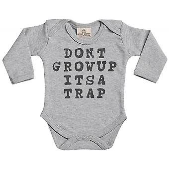Spoilt Rotten Don't Grow Up It's A Trap Baby Long Sleeve Organic Baby Grow