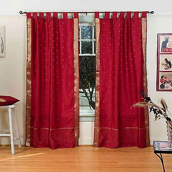 Maroon  Tab Top  Sheer Sari Curtain / Drape / Panel  - Piece