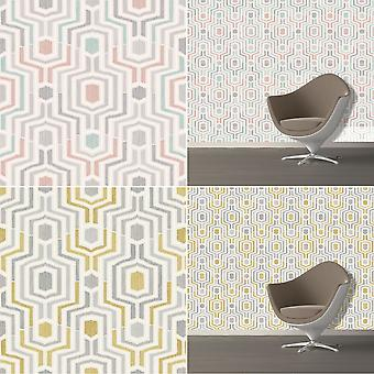 3D Geometric Wallpaper Retro Vintage Funky Print Textured Luxury Grandeco Meso