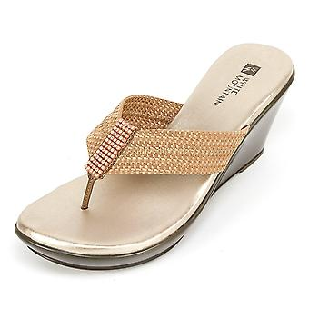 White Mountain Women Ray Wedge Thong Sandals