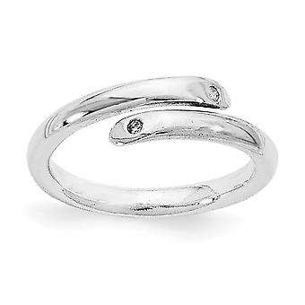 Gepolijste Gift Boxed White Ice Rhodium-plated. 02 ct. Diamond Ring - Ringmaat: 6 tot en met 8