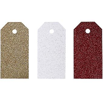 12 Assorted Glittered Tags for Christmas Gift Wrap Crafts | Christmas Gift Wrap