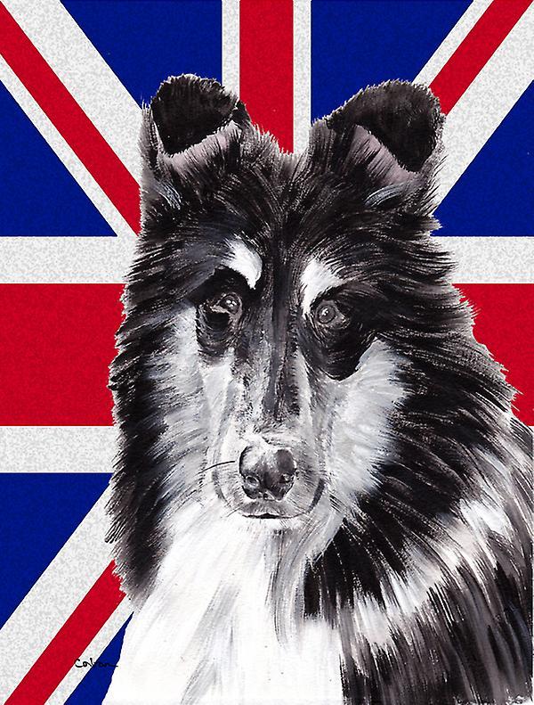 Collie noir et blanc avec anglais Union Jack drapeau britannique drapeau toile House is