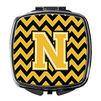 Carolineøerne skatte CJ1053-NSCM bogstavet N Chevron sort og guld kompakt spejl