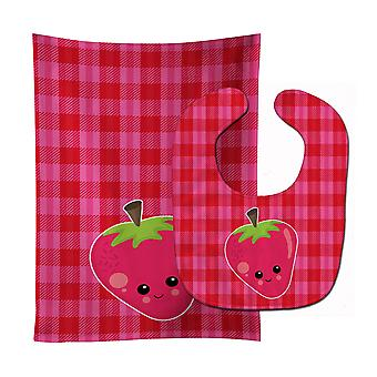 Carolines Treasures  BB6989STBU Strawberry Face Baby Bib & Burp Cloth